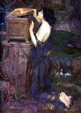 欧式人体抱陶罐的女人油画
