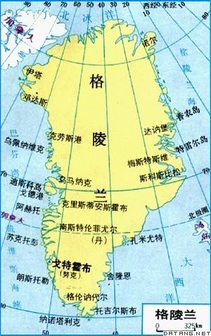 格陵兰全境大部分处在北极圈内,气候寒冷.