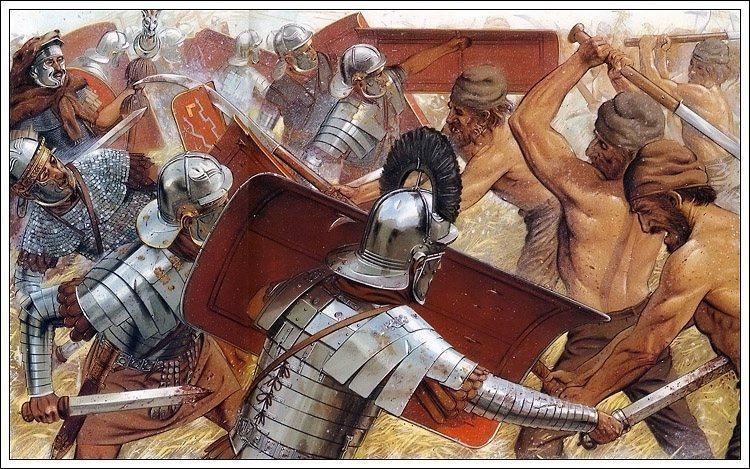 公元前三世纪末,古罗马军队淘汰了用于砍杀的剑,改用一种稍短的剑