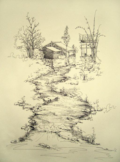 """建议你坚持用钢笔画速写,风景速 每个瓦片都不放过;""""疏""""的地方"""