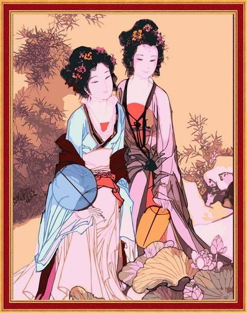 唐朝古代女子铅笔画