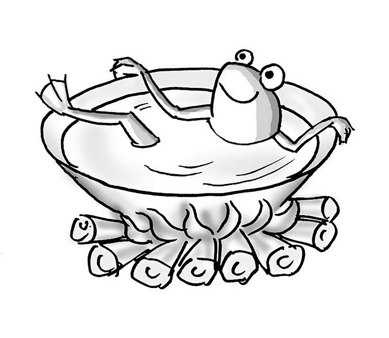重点看一下说有人真的作了试验,把青蛙放到开水里面,青蛙没来得及跳出来,[1]死了。而把青蛙放到冷水里面加热呢,青蛙却自己跳了出来。反正这个温水煮青蛙的故事是错的。 真相:青蛙放到沸腾的开水里面肯定会被烫死的。水沸腾差不多要100度,加上水蒸气,造成的烫伤是很严重的。青蛙在进入沸水的过程中造成的烫伤,应该足够让青蛙丧失运动的能力了,自然就跳不出来。我估计这一点应该没有什么人会有疑问。不过要是说把青蛙放到热水里面可能跳出来呢,也应该是可信的。总应该存在一个水的温度,既不会造成对青蛙的严重烫伤而影响其运动能力,